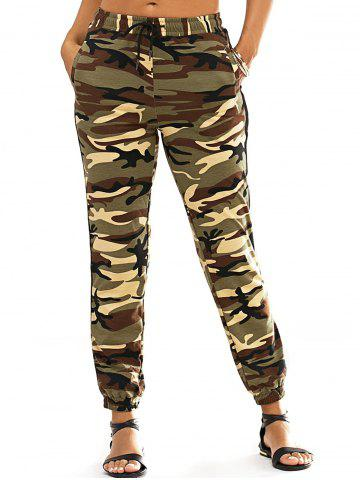 Cheap Fashionable Lace-Up Narrow Feet Camo Print Women's Pants