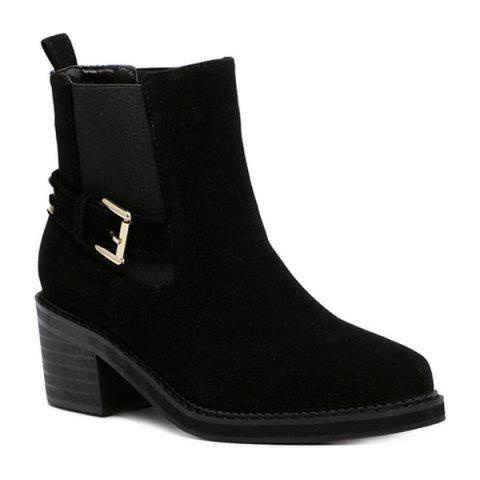 Outfit Elastic Band Pointed Toe Short Boots BLACK 39
