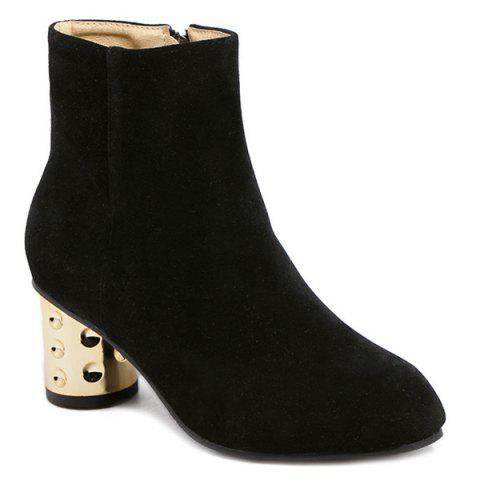 Outfits Suede Zipper Square Toe Ankle Boots BLACK 39