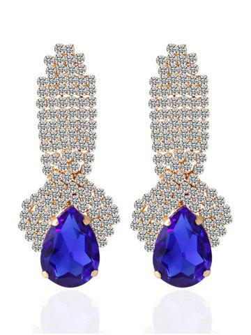 Fashion Faux Crystal Rhinestoned Drop Earrings BLUE