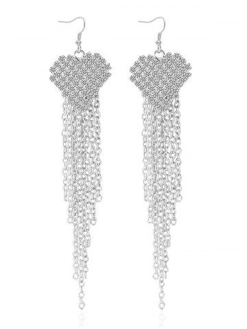 Store Rhinestone Tassel Chains Heart Earrings SILVER