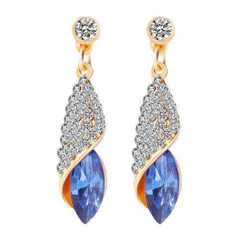 Chic Rhinestoned Faux Crystal Oval Drop Earrings
