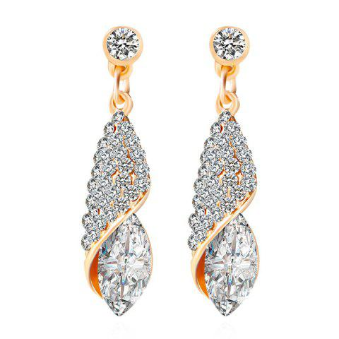 Rhinestoned Faux Crystal Oval Drop Earrings - White