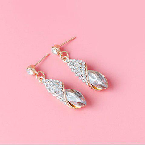 Affordable Rhinestoned Faux Crystal Oval Drop Earrings - WHITE  Mobile