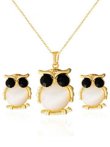 Faux Opal Owl Shape Jewelry Set - GOLDEN