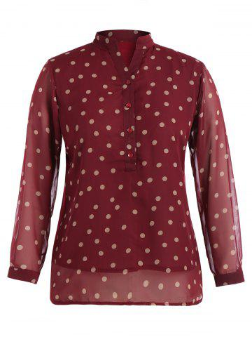 New Stand Neck Long Sleeve Polka Dot Blouse