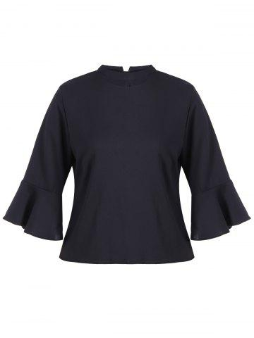 Shops Stand Neck Flare Sleeve Blouse