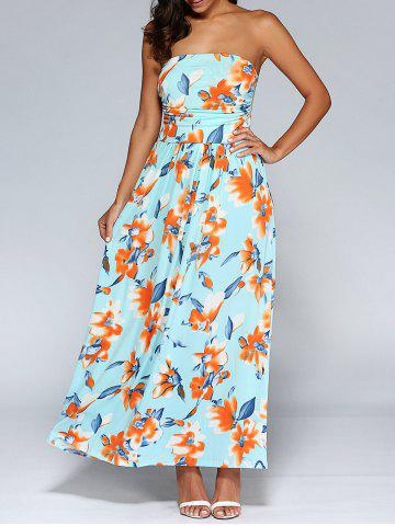 Discount Long Strapless Ruched Floral Formal Maxi Dress