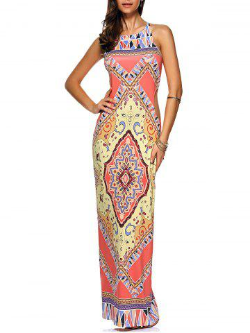Affordable Criss Cross Cut Out Maxi Printed Dress COLORMIX XL