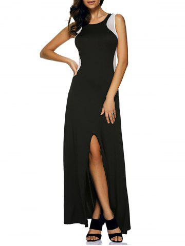 Sale Mesh Insert Slit Zip Long Sleeveless Formal Dress BLACK L