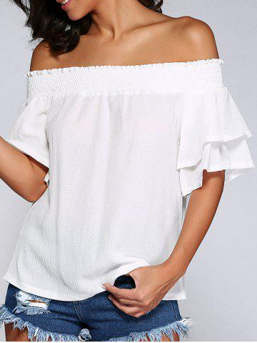 Chic Off The Shoulder Cut Out Shirred Blouse