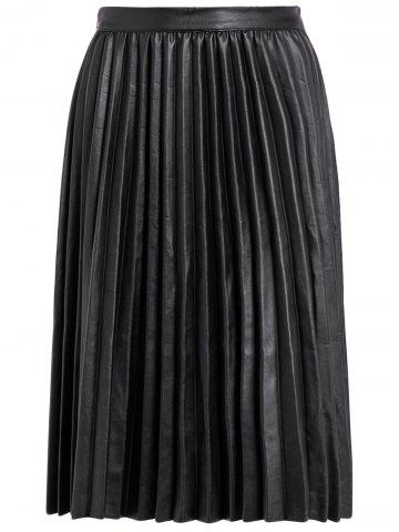 Buy Pleated PU Leather High Waist Skirt
