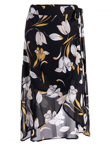 Cheap Self-Tie Front Slit Floral Skirt