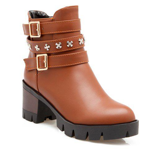 Metallic Buckle Ankle Boots - Brown - 42