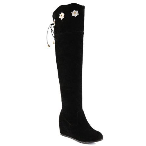 Flower Embellished Lace Up Knee Length Boots - Black - 42