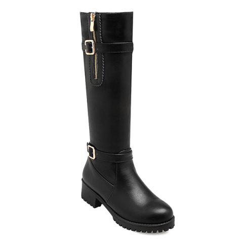 Buy Side Zipper Buckle Leather Knee Length Boots