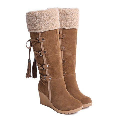Affordable Tassels Suede Slip On Flock Wedge Mid Calf Boots BROWN 38