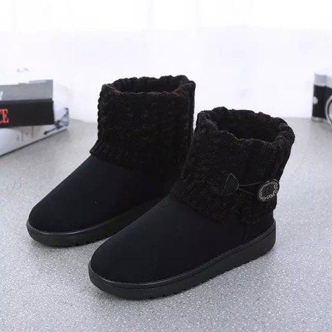 Unique Suede Button Cable Knitted Snow Boots - 37 BLACK Mobile