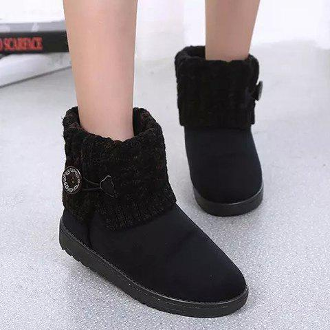 Affordable Suede Button Cable Knitted Snow Boots - 37 BLACK Mobile