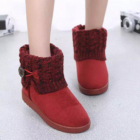 Chic Suede Button Cable Knitted Snow Boots