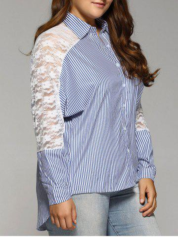 New Openwork Lace Spliced Plus Size Stripe Shirt