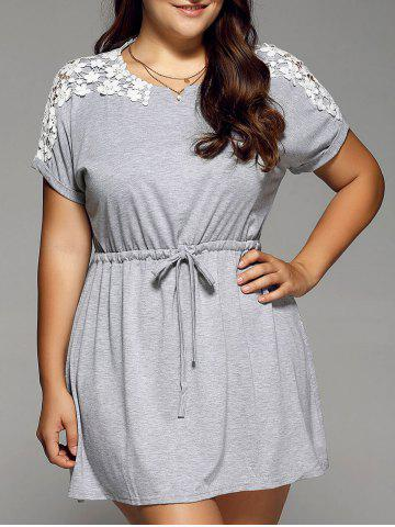 Outfits Stretch Waist Lace Spliced Plus Size Dress