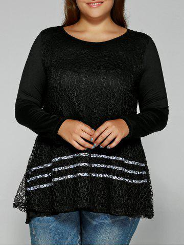 Chic Layered Openwork Lace Spliced Blouse
