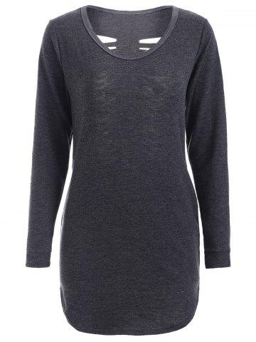 Outfits Longline Ripped T-Shirt BLACK GREY S