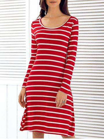 Shop Scoop Neck Long Sleeve Striped Dress RED L