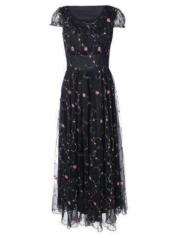 Best Floral Embroidered Gauze Maxi Wedding Guest Dress BLACK XL