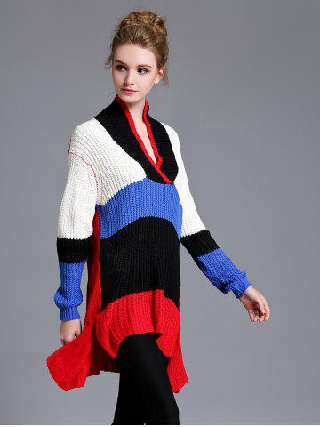 Latest High Low Color Block Long Sweater