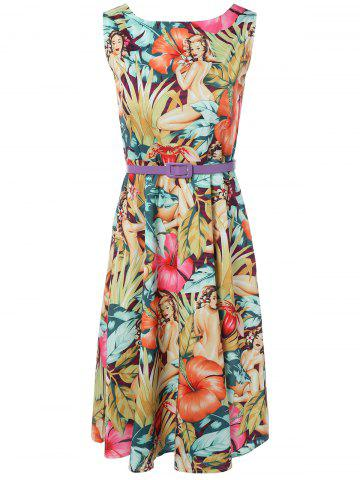 Store Vintage Round Neck Printed Dress