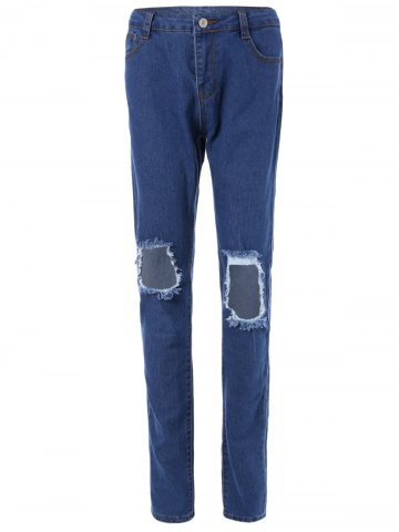 Store High-Waisted Broken Hole Jeans