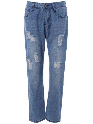 Fancy Pocket Design Distressed Jeans