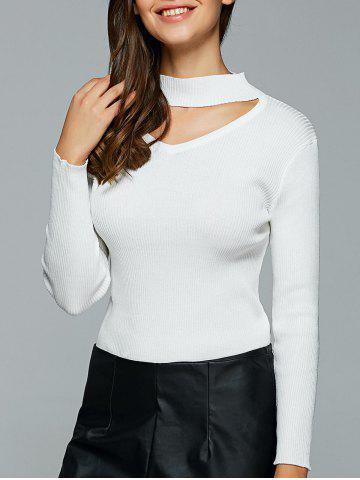 Discount Hollow Out Ribbed Knitted Pullover