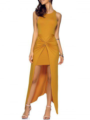 Latest Asymmetric Zip Knotted Long Night Out Dress EARTHY M