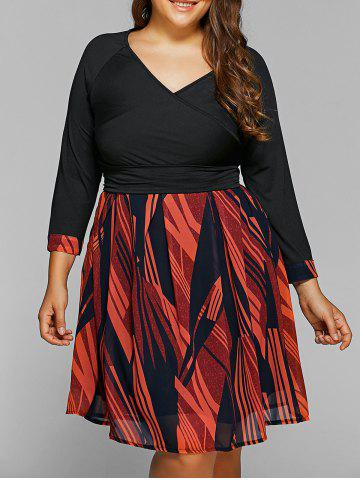Outfit Back Lace-Up Geometry Print Plus Size Dress BLACK 6XL