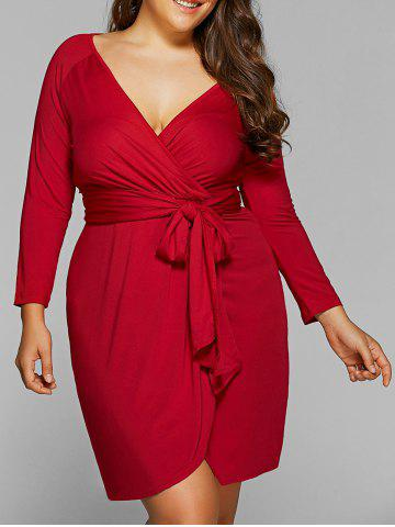 Outfit Plus Size Lace-Up Jersey Knit Wrap Dress With Long Sleeves CLARET 6XL
