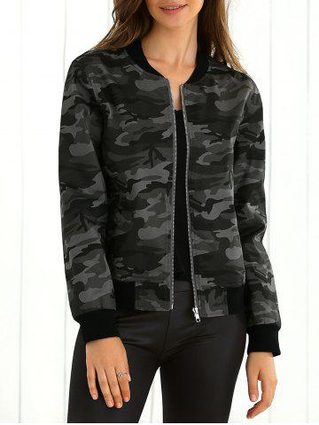 Discount Camouflage Print Baseball Jacket
