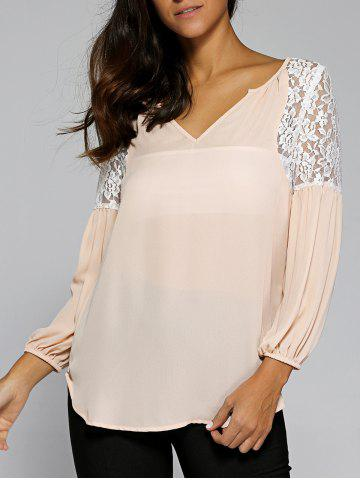 Cheap Ruched Sleeve Lace Patchwork Blouse
