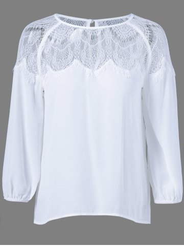 Fashion Lace Patchwork See-Through Blouse