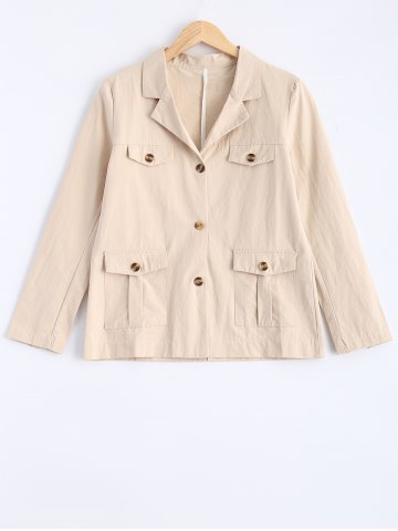 Trendy Buttons Pocket Flax Short Coat