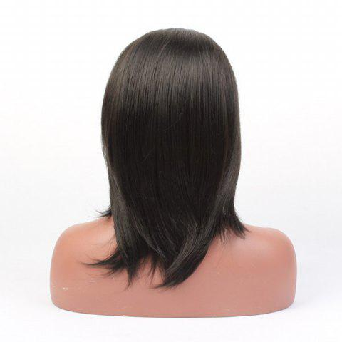 Hot Medium Straight Lace Front High Temperature Fiber Wig - BLACK  Mobile