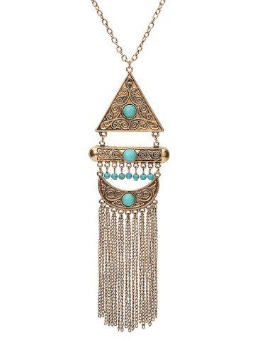 Latest Faux Turquoise Fringe Crescent Sweater Chain