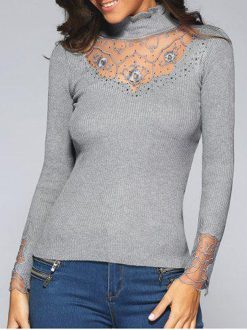 Discount Beading Embroidered Turtleneck Sweater