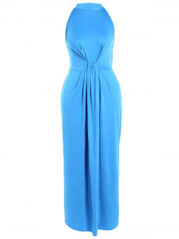 Fashion High Waist Tied-Up Ruched Maxi Dress