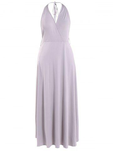 Shop Backless High Slit Halter Maxi Dress