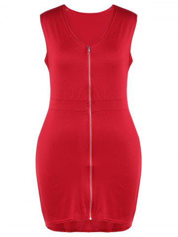 Fancy Plus Size Zip Front Flying V Neck Bodycon Dress RED 4XL