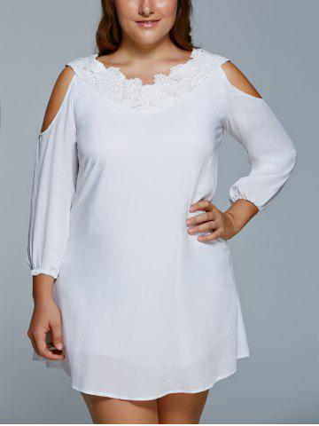 Outfit Plus Size Cold Shoulder Mini Shift Dress WHITE 5XL