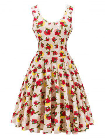 Outfits Retro Style Knitted Floral Dress